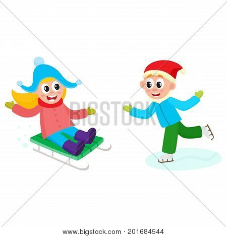 vector girl having fun enjoying sleigh ride, boy riding ice skates set. Flat cartoon isolated illustration. Kid sledding, ride a sledge outdoors. Winter children activity concept