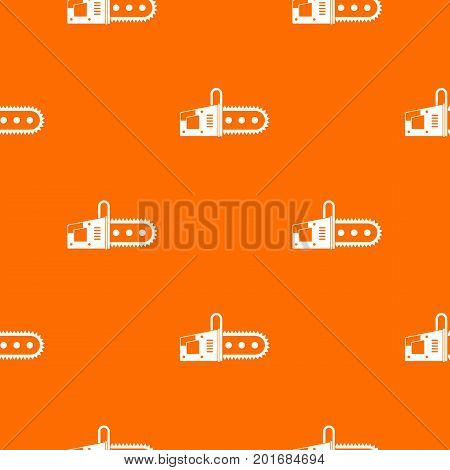 Chainsaw pattern repeat seamless in orange color for any design. Vector geometric illustration