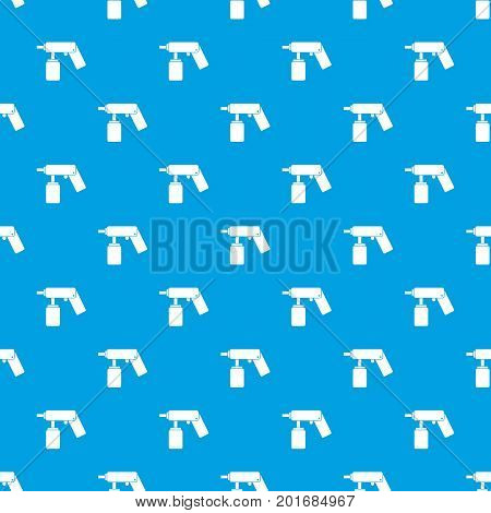 Spray aerosol can bottle with a nozzle pattern repeat seamless in blue color for any design. Vector geometric illustration
