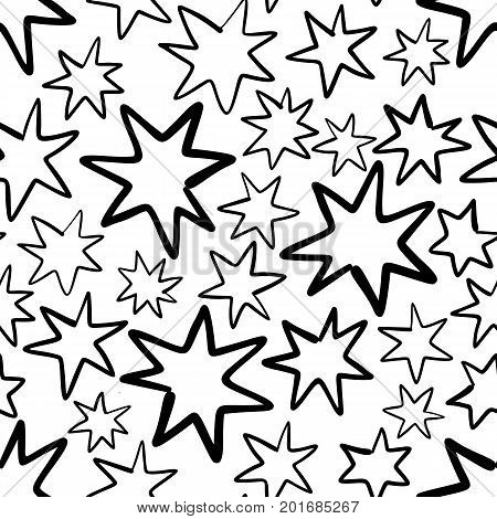 Hand drawn seamless pattern with stars isolated on white. Endless vector primitive background with black line stars. Vector illustration.