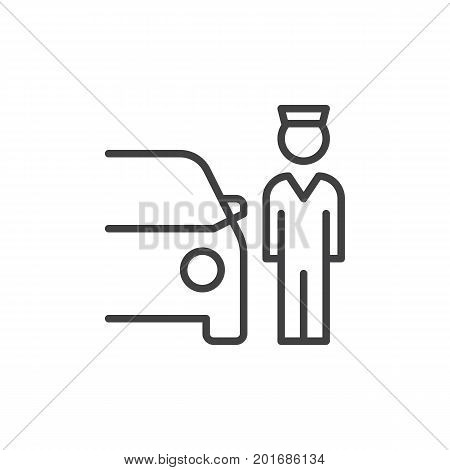 Valet Parking line icon, outline vector sign, linear style pictogram isolated on white. Symbol, logo illustration. Editable stroke. Pixel perfect vector graphics