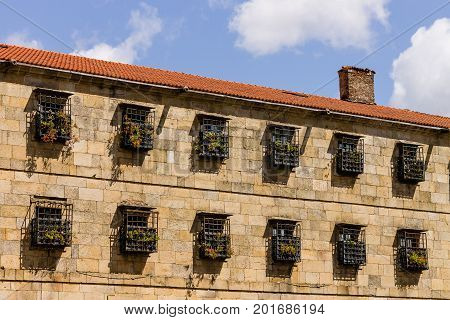 Facade in the old town of Santiago de Compostela Spain