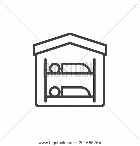 Hostel line icon, outline vector sign, linear style pictogram isolated on white. Symbol, logo illustration. Editable stroke. Pixel perfect vector graphics
