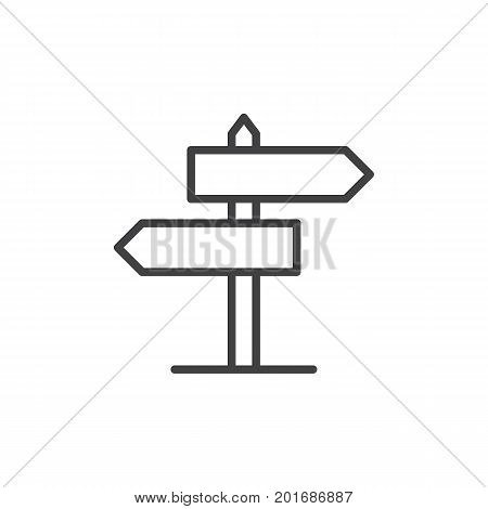 Signpost line icon, outline vector sign, linear style pictogram isolated on white. Guidepost symbol, logo illustration. Editable stroke. Pixel perfect vector graphics