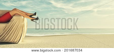 Young woman in red dress relaxes in a beach sofa. This is a 3d render illustration