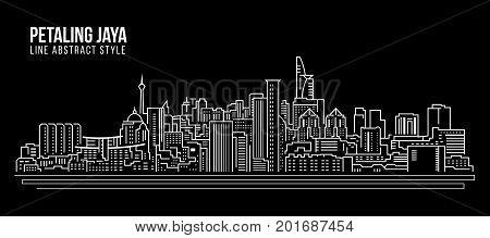 Cityscape Building Line art Vector Illustration design - Petaling jaya city