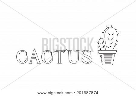 Linear vector illustration of cactus with lettering.