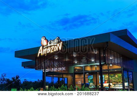 Tak, Thailand - July 9 : Cafe Amazon Beverage Shop At Ptt Oil Station On July 9, 2017 In Tak, Thaila