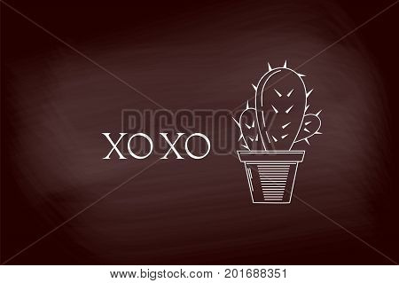 XO XO white letter logo design with cactus on chalkboard . Vector illustration template.