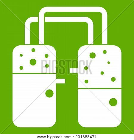 Containers connected with tubes icon white isolated on green background. Vector illustration