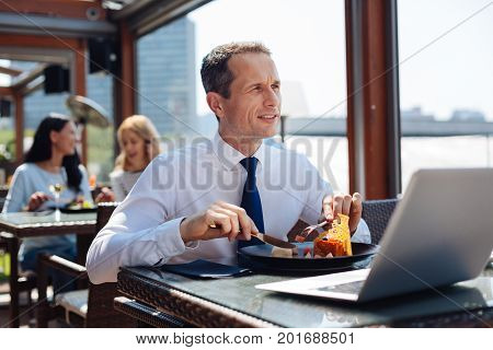 Lunch break. Nice thoughtful smart businessman sitting at the table and eating his lunch while having a lunch break