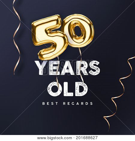 50 years old. Gold balloon number 50th anniversary vector illustration for happy birthday congratulations