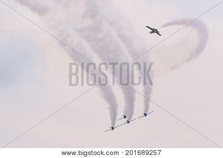 Radom, Poland - August 26, 2017 :aerobatic Group Formation