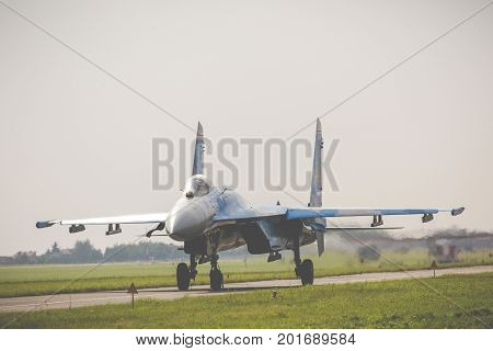 Radom, Poland - August 26, 2017 : Ukrainian Air Force Sukhoi Su-27 During Air Show Radom 2017.