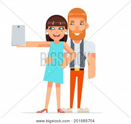 Couple Happiness Selfie Photo Portrait Cute Young Girl Woman Man Together Geek Hipster Smartphone Lifestyle Casual Character Isolated Icon Cartoon Flat Design Vector illustration