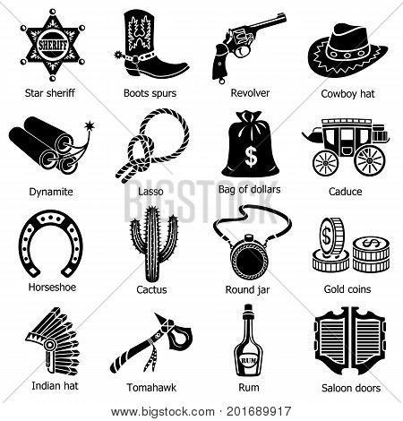 Wild west icons set. Simple illustration of 16 wild west vector icons for web