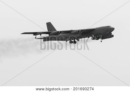 Radom, Poland - August 26:  B-52 Stratofortress Bomber Aircraft Of United States Air Force During Ai