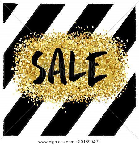 Gold sale background. Shine backdrop for flyer, poster, shopping, for sale sign, discount, marketing, selling, banner, web, header. Abstract golden background text type quote Gold blur backdrop