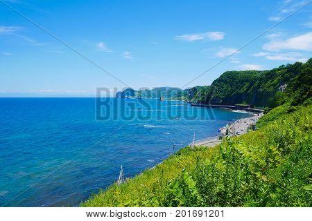 Beautiful background scenic seaside road with blue sky sunny day on the way to Otaru Hokkaido Japan