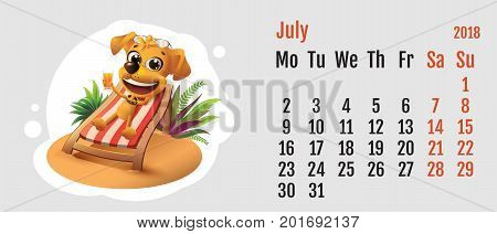 2018 year of yellow dog on Chinese calendar. Fun dog lies in deck chair. Calendar grid month July. Vector cartoon illustration
