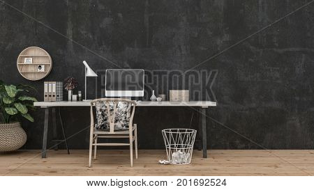 Wide tan table with computer lamp books on top of it and tan chair and tan wastebasket in front of black wall and shelves. 3d Rendering.