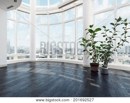 Empty vacant modern luxury apartment or penthouse interior with large curved view windows overlooking the city, a wood floor and potted plants. 3d Rendering. poster