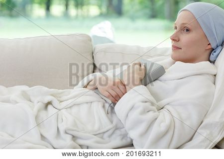 Woman With Ovarian Cancer Lying