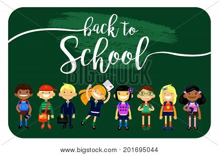 back to school, Set of characters elementary schoolchild, school students on a white background. Schoolboys and schoolgirls of different nationalities. Vector illustration of flat design