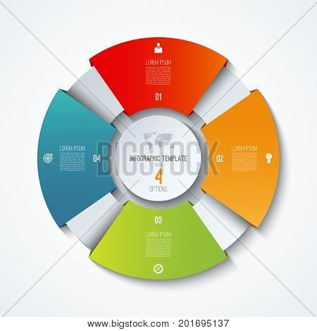 Circle infographic template. Process wheel. Vector pie chart. Business concept with 4 options parts steps. Can be used for diagram graph chart step by step infographics web design