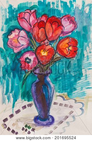 bouquet of tulips in glass bank, spring