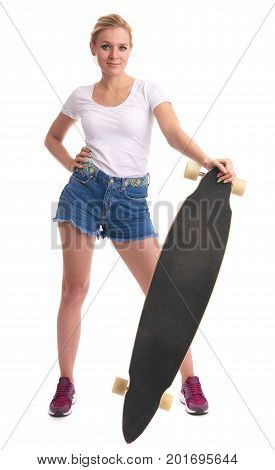 Cute Young Blonde Girl With Longboard