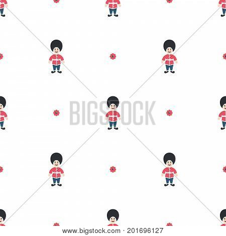 Queen guard cute seamless vector pattern. Red and blue on white thin design background texture.