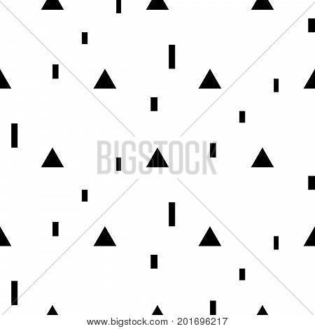 Vector seamless pattern with geometric simple shapes. Black and white rectangles triangles fine print background.