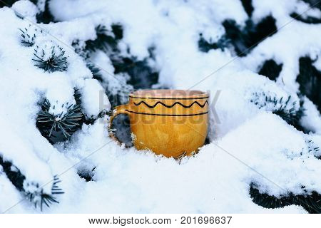 Yellow Ornamented Cup