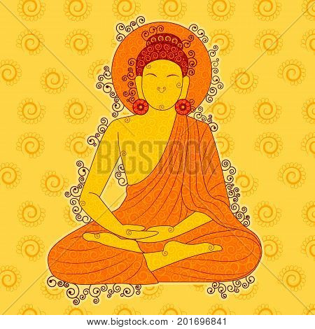 Vector design of Vintage statue of Indian Lord Buddha sculpture one of avatar from the Dashavatara of Vishnu in India art style