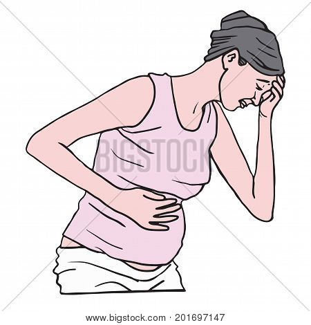 Pregnant Woman Suffering with Nausea in the Morning. Vector Illustration