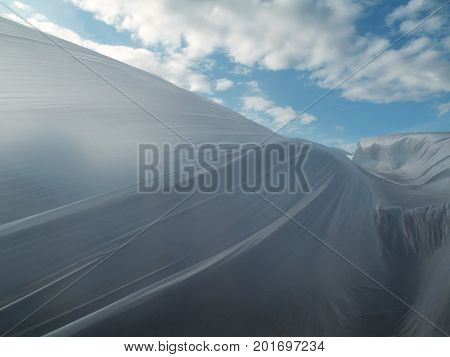 beautiful white polythene background blue sky and clouds