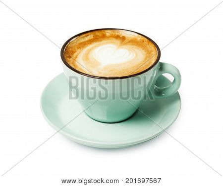 Cappuccino with frothy foam heart shape, blue coffee cup closeup isolated on white background. Cafe and bar, barista art concept.