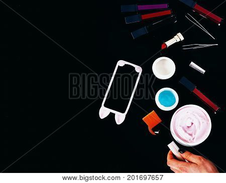 Various Cosmetics: Cream, Gel, Lipstick, Brushes And Tweezers