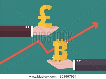 Currency exchange Pound sterling and Bitcoin. Business concept