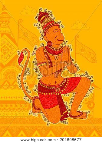 Vector design of Vintage statue of Indian Lord Hanuman in India art style
