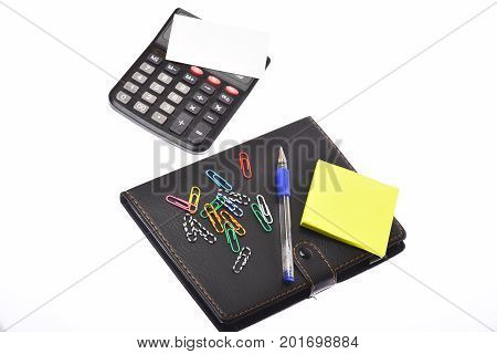 Leather Covered Notebook, Note Paper, Pen, Calculator And Paper Clips