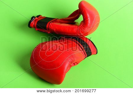 Leather Sport Boxing Gloves In Red Color Isolated On Green