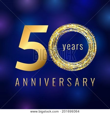 50 years old luxurious numbers. Congratulations 50th vector gold colored template sign with sparks, stars. Congratulating greetings celebrates. Celebrating traditional gold colored fifty % template.