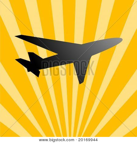 Flugzeug über Strahlen der Sonne Vektor