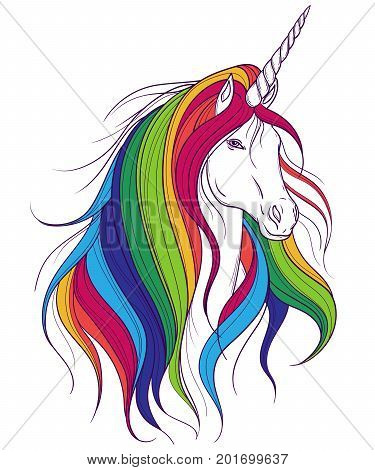 Unicorn with rainbow mane on white background. Design concept for print, card, poster. Vector illustration