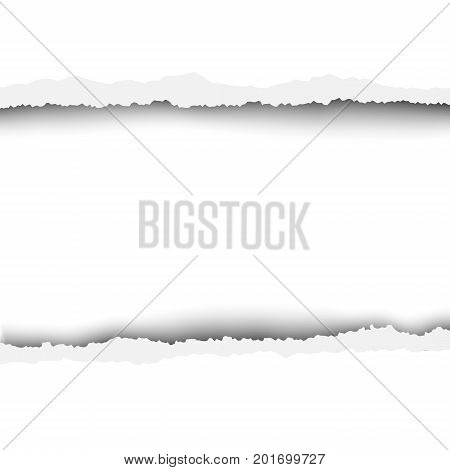 Torn, snatched hole in sheet of paper. White background of the resulting window for text, ad and other aims. Template paper design.