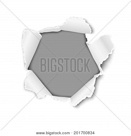 Vector ragged hole in white sheet of paper with torn edges, soft shadows and dark gray background for text, ad and other aims. Template paper design.
