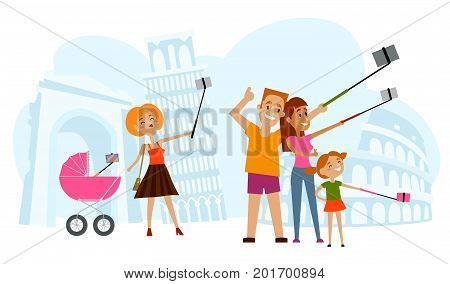 Father, mother and kid making selfie in Italy with Tower of Pisa and Coliseum of Rome on background, flat style cartoon vector illustration. Family making selfie with many phones on vacation in Italy