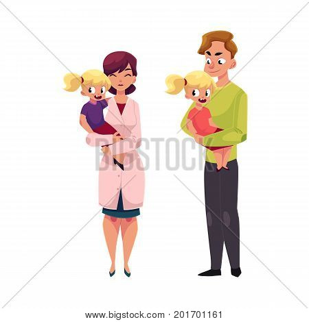 Woman doctor, pediatrician and young father holding little girl in arms, cartoon vector illustration isolated on white background. Cartoon style doctor, pediatrician and young father holding a girl